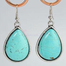 1 Pair Retro Tibetan Silver Teardrop Style Turquoise Chandelier Dangle Earrings