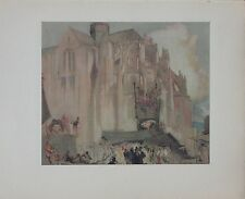 "Frank Brangwyn Watercolor ""Cathedral, Eu"" 1928 Quality Color Photogravure"