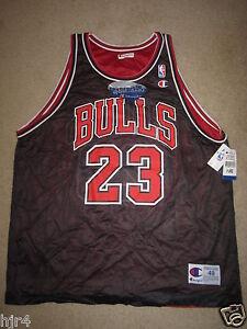 Michael Jordan #23 Chicago Bulls NBA Champion Nero Reverse Maglia 48 XL Nuovo