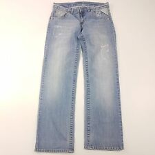 Replay MV156 Womens Jeans W32 L31 Light Blue Relaxed Straight Low Rise Cotton