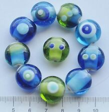 10 x lime green, blue discs lampwork  glass beads all different  36 g  134