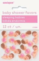 MINI PLASTIC BABIES WITH PINK DIAPER PACK OF 12 BABY SHOWER FAVOURS/DECORATIONS