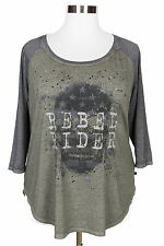 ROCK & REPUBLIC OLIVE GREEN GRAY GRAPHIC SKULL EMBELLISHED 3/4 SLEEVE TOP Sz 0X