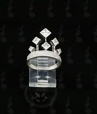 10K White Gold Finish  Lab Created Diamonds Ladies Silver Crown Ring  Size 7