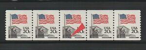 """US ERROR Stamps: #1895 Flag Court. coil strip with """"Footsteps"""" var. MNH"""