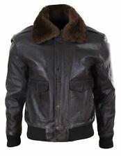 Mens Real Leather Aviator Bomber Jacket Removable Fur Collar Pilot Flying Jacket