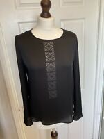 Jigsaw Black Silky Tunic Embroidered Floral Lace Cut Out Blouse - Size 10