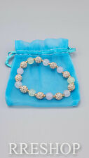 WHITE JADE AND CRYSTAL SILVER BEAD BRACELET SIMULATED
