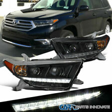 Fit 11-13 Toyota Highlander Black SMD LED Projector Headlights Lamps Pair
