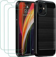 For Apple iPhone 12 Case Carbon Gel Cover Shockproof & Glass Screen Protector