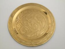 VINTAGE BRASS HAND ETCHED PEACOCK ROUND SERVING TRAY MADE IN ARMENIA