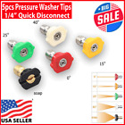 """5pcs Pressure Washer Spray Tips Nozzles High Power Kit Quick Connect 1/4"""" Set photo"""
