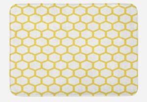 "Bath Mat, Hexagonal Pattern Honeycomb Beehive, Padded Microfiber 29.5""x17.5"" (Q1"