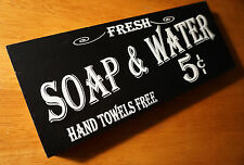Vintage Style SOAP & WATER Hand Towels Free Bathroom Wood Block Decor Sign NEW