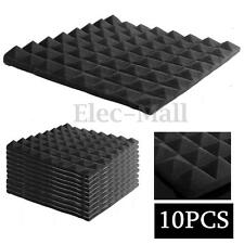 "10Packs 2"" x 20"" x 20"" Studio Acoustic Pyramid Foam Sound Absorption in Black"
