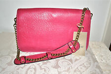 NWT $369 ABACO Paris Leather Messenger Shoulder Bag Clutch Chain Strap Fuchsia