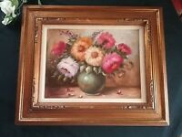 """20"""" x 24"""" STILL  OIL PAINTING~SOFA /MANTLE DEEP GOLD FRAME SIGNED"""