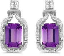 10 Quilates Oro Blanco Corte Esmeralda Amatista & Diamante Pendientes