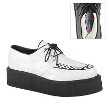 "Demonia Classic 2"" Vegan Rockabilly White Stitched Creepers Goth Punk Mens 4-14"