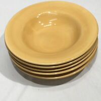 Set of 5 Pottery Barn Sausalito Wide Rimmed Soup Bowls Amber Gold 10.25""