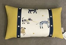"Cushion Cover And Feather Pad 20 x 11"" Mustard Navy Cream Braid Printed Dogs"