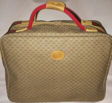 Gucci Carry On Luggage classic GG Coated Canvas Leather Red Green motif EUC vntg