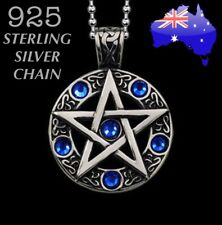 Blue Crystal Pentagram Medallion Wiccan Witch Celtic Pendant Necklace Protection
