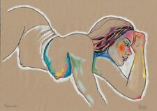 original drawing A3 141DO art modern female nude pastel signed 2020 70 g/m2