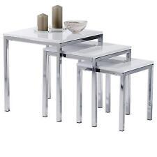 Set de 3 tables gigognes LUNA / chromé, MDF laqué blanc