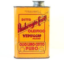 Antica Scatola Pubblicitaria Bidone Latta Olio Di Lino Ambrogio Corti - Milano