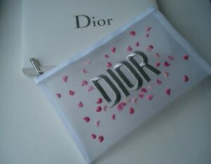 DIOR  Beaute makeup bag mesh embroidered pouch clutch trousse