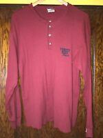 TOMMY HILFIGER Vintage Mens Long Sleeve Half Button T Shirt USA Red Sz L C4