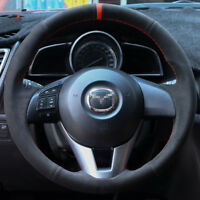 For Mazda CX-5 CX-3 Mazda 3 customized steering wheel cover Black Suede Leather