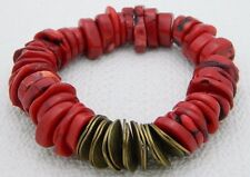 NWOT Chico's Blood Red Faux Coral Gold Tone Beaded Bead Stretch Bracelet
