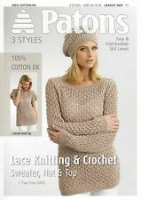 VAT Free Knitting & Crochet PATTERN ONLY Patons Ladies Top Sweater Hat 3897 New