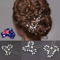 2/4pc stunning crystal pearl bridal hair pins clips hairpins accessories wedding
