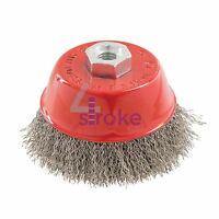 Stainless Steel Crimp Cup 100mm Wire Brush M14 Rust Removal