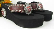 Custom Handmade A&M Embellished Bling Nomad Platform Sandals Leather Concho Sz 9