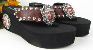 Custom Handmade A&M Embellished Bling Nomad Platform Sandals Leather Concho Sz 9