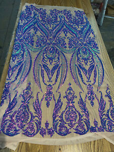 LAVENDER IRIDESCENT DAMASK SEQUINS DESIGN ON A NUDE 4 WAY STRETCH MESH-BY YARD.