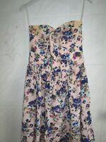 Zimmermann Strapless floral silk Dress  Size 0   Aust 8  with Belt