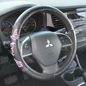Stylish Pink Durable PU Leather Butterfly Steering Wheel Cover for Car Truck SUV