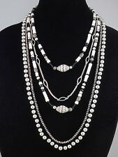 Lucky Brand Silvertone Hematite Cream Beaded Multi Strand Convertible Necklace
