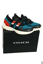 350$ Coach Sneakers 2 Strap Runner Leather 12 size D Multi Luxury