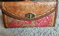 Vtg Large Womens Brown Hand Tooled Western rose Leather Wallet Checkbook Clutch