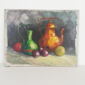 8842: Leon Franks Painting Original Oil On Board Still Life