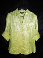 Tommy Bahama M Metallic Green Shirt V Neck Linen Rolled Sleeve Cuffs Blosue Md