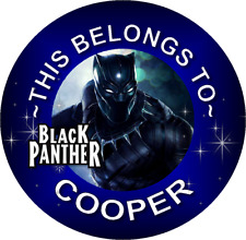 24 Round Black Panther Personalized Property Stickers Name Tags School Labels