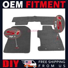 Fit 06-11 Honda Civic FA FD Floor Mats Grey Carpets Nylon Red Si Emblem