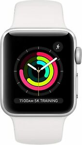 Apple Watch Series 3 GPS 38mm Silver Aluminum with White Sport Band New!!!
